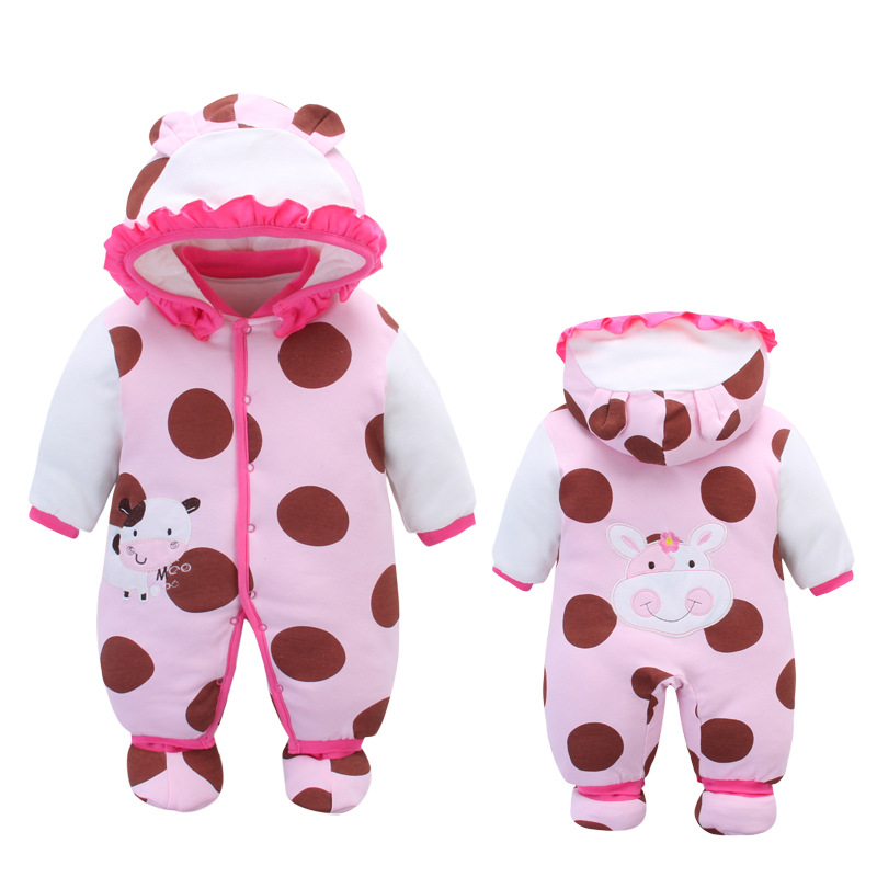 Autumn Winter Cotton Padded Baby Rompers with Hooded Foot Wears Worm Infant Baby Outfit 0-12MAutumn Winter Cotton Padded Baby Rompers with Hooded Foot Wears Worm Infant Baby Outfit 0-12M