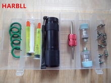 HARBLL 6-in-1 car air conditioning repair tool r134a fluorescence oils, UV leak detection flashlight, valve core, rubber seal
