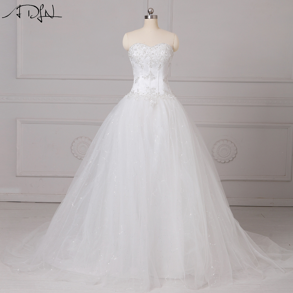 ADLN Classic Stock Sweetheart A-line Corset Wedding Dresses Appliqued White/Ivory Tulle Plus Size Cheap Bridal Gown 2019