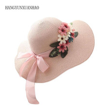 New Design Women Flowers Straw Hat Female Summer Casual Bow Beach Hat Outdoor Travel Sun Hats All-Match For Gifts stylish bow band white match black hipsters straw hat for women