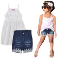 toddler girls clothing set summer white suspenders chiffon tops+denim lace shorts 2017 new fashion princess girl clothing sets