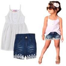 Enfant filles vêtements ensemble d'été blanc bretelles en mousseline de soie tops + denim dentelle shorts 2017 nouveau mode princesse fille vêtements ensembles