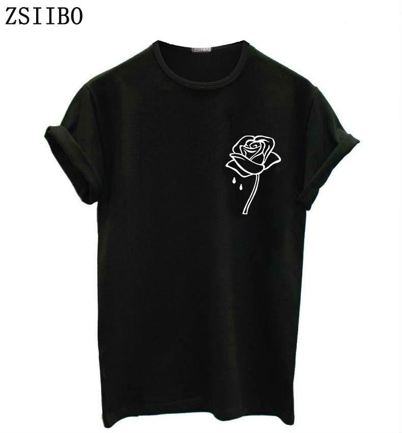 ZSIIBO rosa di tasca del fiore di Stampa Delle Donne maglietta Casual Divertente t shirt Per La Signora Top Tee Pantaloni A Vita Bassa Tumblr Nave di Goccia