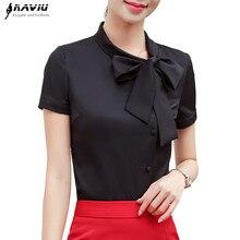 Elegant Women Bow Shirt 2019 New Summer Fashion Formal Short Sleeve Chiffon Blouse Office Ladies Plus Size Work Tops