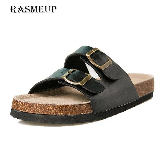 RASMEUP עור נשים של נעלי 2018 קיץ רך פקק אבזם כפכפים נשים חוף שקופיות מקרית לבן אישה כפכפי נעליים