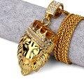 Позолоченные Головой Льва Корона Короля подвески ожерелья Мужчины Женщины хип-Хоп Очарование Цепь Franco Iced Out bling рок Ювелирных Изделий подарок