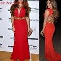 Red Carpet Celebrity Vestidos Sexy espalda abierta oro moldeado cristalino largo Prom vestido de noche Formal 2016 mujeres Vestidos
