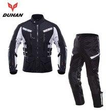 DUHAN Men Motorcycle Jacket Moto Touring Riding Suit Waterproof Raincoat Jacket Motorcycle Pants Clothing Set Protective