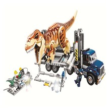 Hot Jurassic World 2 T. Rex Transport Building Block Bricks Toys Compatible With Legoings Dinosaur 75933 legoing jurassic world series t rex transport model building block brick toy for children birthday gift compatible 75933