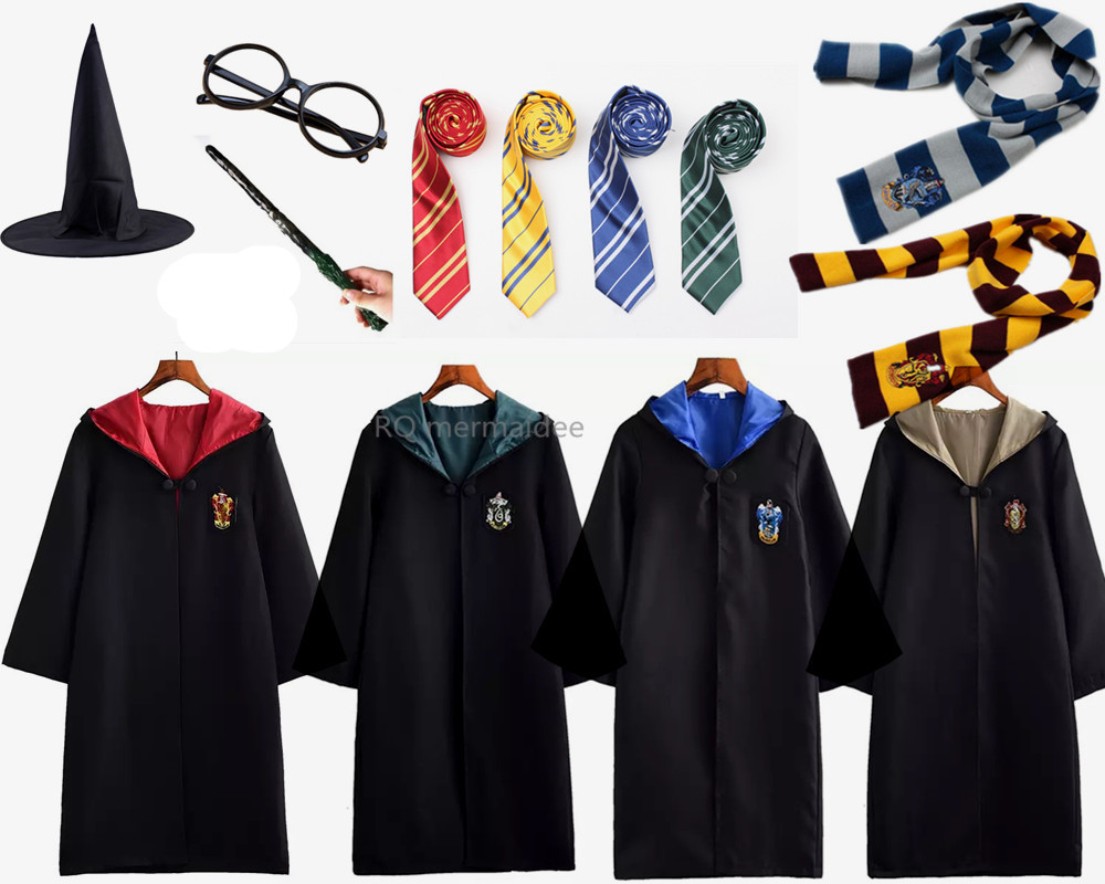 HOT!Cosplay Costume Robe Cloak with Tie Scarf Ravenclaw Gryffindor Hufflepuff Slytherin for Adult Kids for Harri Potter Cosplay