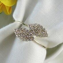 Кристалл Алмазный лист Форма кольцо для салфеток Клевер держатель для салфеток украшение для свадебного банкета вечерние украшения стола салфетка пряжка