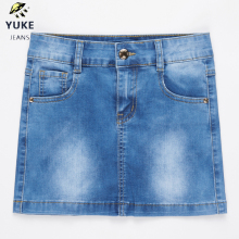 YUKE New Style Girls Denim Skirt Junior Short Denim Skirt Women's Stretch Denim Skirt Children's Elasticity Denim Skirt 8-15Age destroyed fishnet insert fray trim denim skirt