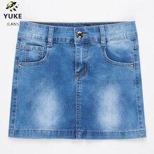 YUKE New Style Girls Denim Skirt Junior Short Denim Skirt Wo