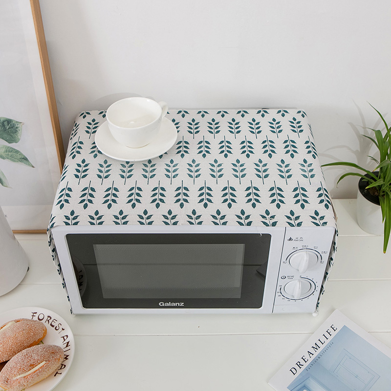 Simanfei 2019 leaves Cotton Linen Dust Cover Microwave Cover Leaf Microwave Oven Hood Microwave Towel cloth With Storage Bag in Microwave Oven Covers from Home Garden