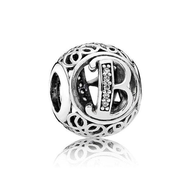 NUEVOS encantos Del Alfabeto de la letra B B charm fit granos de la plata esterlina 925 joyería de plata de la vendimia pulsera DIY joyería fina LE16-B
