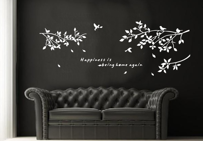 8118 Large Tree Branch Birds White Black Brown Three Colors Options Twig Bird Hand Carved Pvc Wall Stickers Living Room Decor