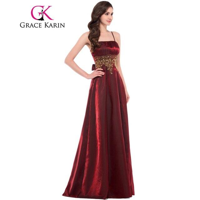 Grace Karin Black Dark Red Evening Dresses Long Sleeveless Spaghetti ...