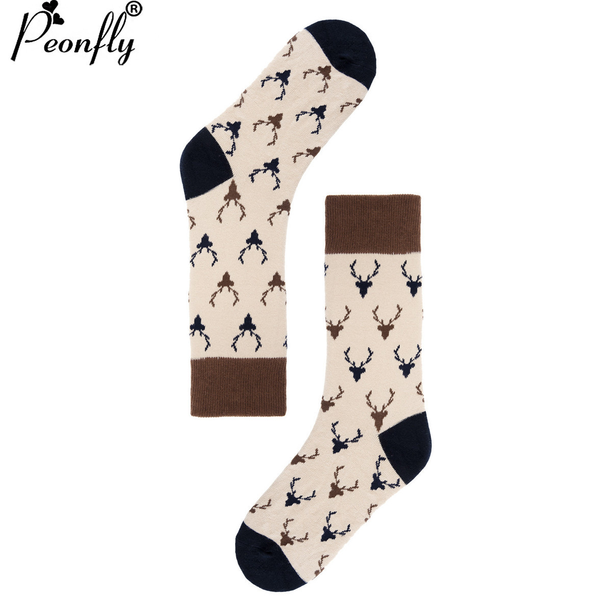 PEONFLY USA(6-10) long dress high   New Pattern Funny Socks England happy Lovers Socks Male Full Cotton