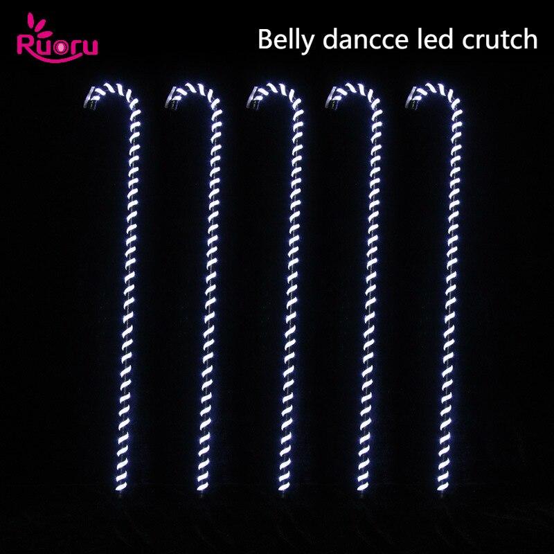 Ruoru 1 ピースベリーダンス LED 松葉杖白色ステッキダンスアクセサリーステージパフォーマンスの小道具シャイニング Led Crosier  グループ上の ノベルティ & 特殊用途 からの ベリーダンス の中 1