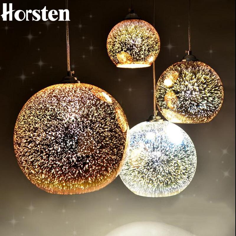 Horsten Nowość Szklana kula wisiorek światła Nowoczesna lampa wisząca Boże Narodzenie Ball Design Lampa 3D kolorowe oświetlenie wisiorek