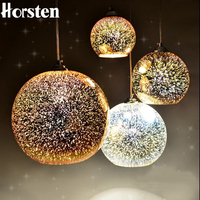 Horsten Novelty Glass Ball Pendant Lights Modern Suspended Luminaire Christmas Ball Design Lamp 3D Colorful Pendant