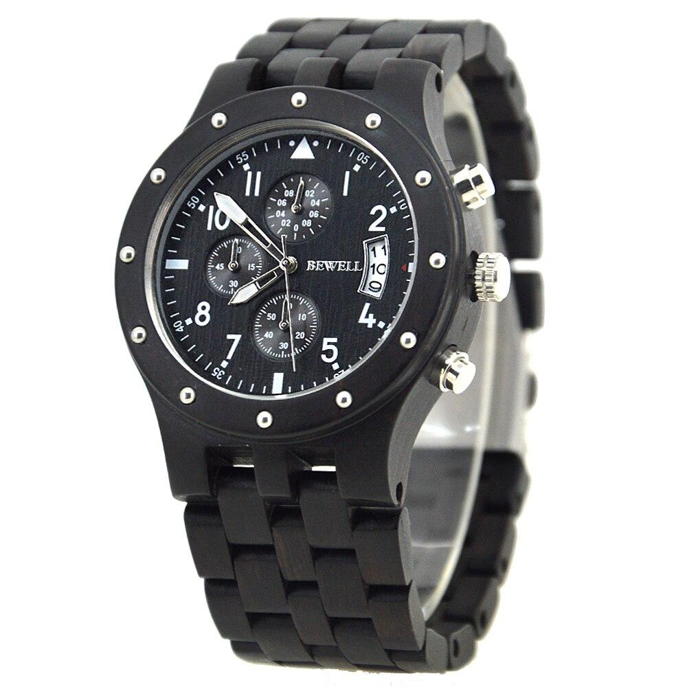BEWELL Top marque hommes Auto Date bois montres homme chronomètre et hommes mains lumineuses analogique Quartz horloge Relogio Masculino 109D