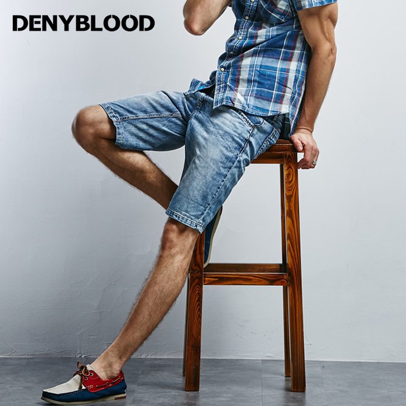 Denyblood Jeans 2017 Summer Mens Shorts 100% Cotton Denim Slim Straight Short Pants Snow Washing Capris Male Bermuda 15614S