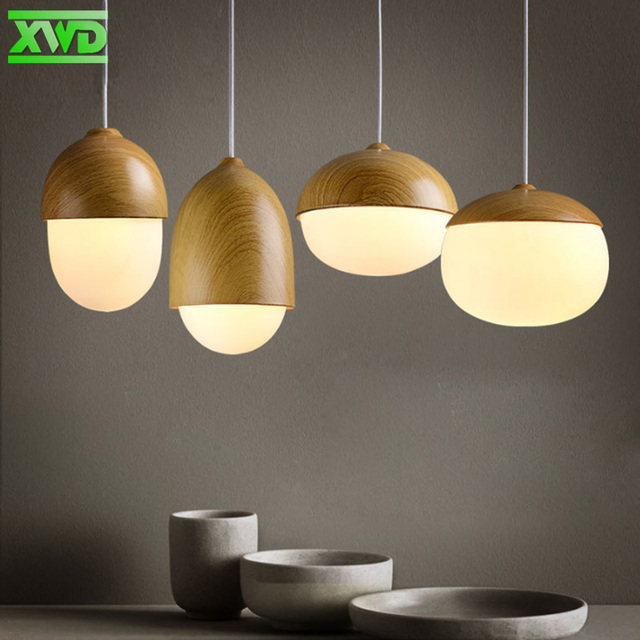 Vintage Wood Grain Glass Iron Painder Pendant Lamp Coffee House/Dining Hall/Club/Foyer/BookSoter E27 110-240V Indoor Lighting