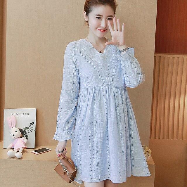 74471dae90e02 Korean Casual Maternity Nursing Dress V Neck Breast Feeding Vestidos Dresses  Clothes For Pregnant Pregnancy Nurse