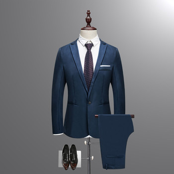 2018 New Autumn Wedding Navy Blue Suits Men,Blazer Men,Men's Jacket + Pants Business Suits,men's Dress suits, Plus Size M-3XL