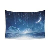 Peaceful Night Sky with Moon Stars Blue Tapestry Wall Hanging Art Home Decor