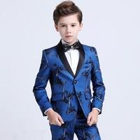 5 pieces 2019New Korean Stage Host Model Show Boy's Suit set Jacket flowers high quality size 110 120 130 140 150 160