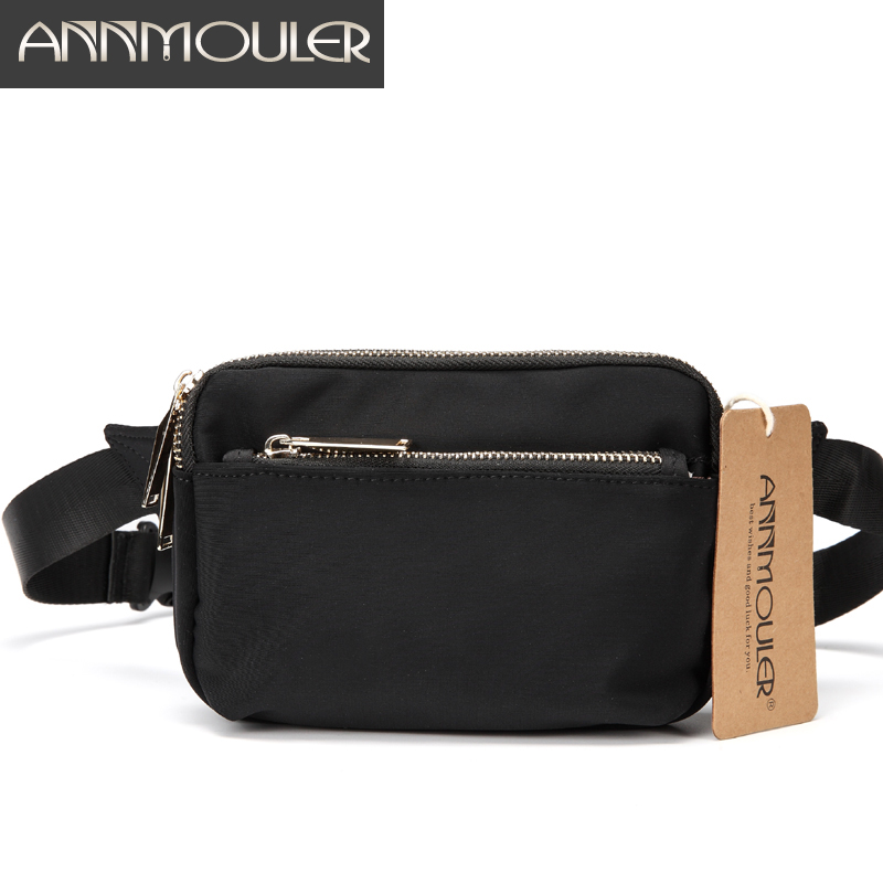 Annmouler High Quality Unisex Waist Bag Small Waterproof Fanny Pack 3 Colors Trip Zipper Pocket Waist Packs Fashion Chest Bag