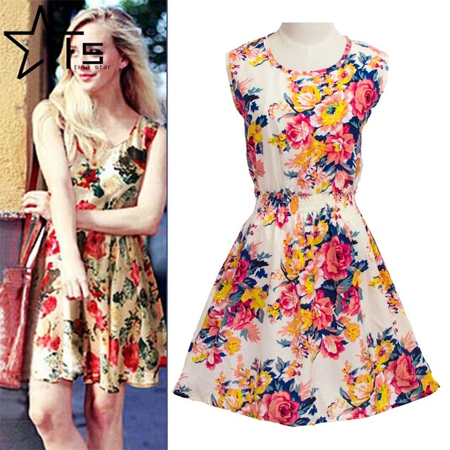 49192cf5e3b7 Twinkle Star 2016 New Summer Dress Code Sleeveless Floral Chiffon Knee-Length  Off The Shoulder Fashion Casual Woman None