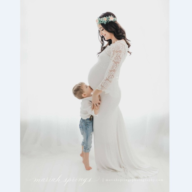 2018 Comfortable Lace Maternity Dresses Coat with Mercerized Cotton Dress Maternity Photography Props Fashion Pregnancy Dress