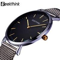 GEEKTHINK Top Luxury Brand Quartz Watch Men Casual Japan Quartz Watch Stainless Steel Mesh Strap Ultra