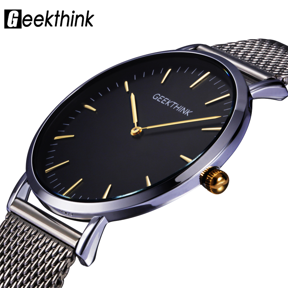 GEEKTHINK Top Luxury Brand Quartz watch men Casual Japan quartz-watch stainless steel Mesh strap ultra thin clock male New bestdon new top luxury watch men brand men s watches ultra thin stainless steel mesh band quartz wristwatch fashion casual clock