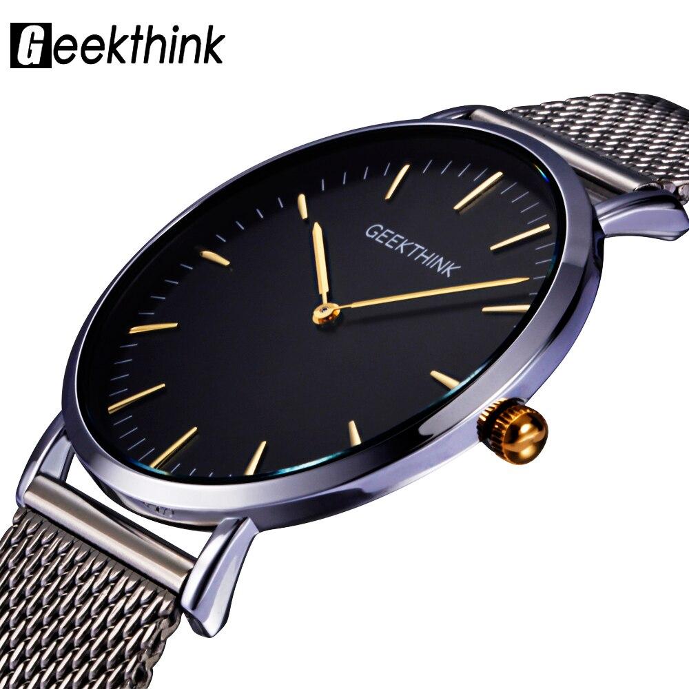 Prix pour GEEKTHINK Top Marque De Luxe Quartz montre hommes Casual Japon quartz-montre en acier inoxydable Maille sangle ultra mince horloge mâle nouveau