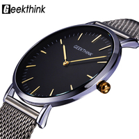 GEEKTHINK Top Luxury Brand Quartz Watch Men Casual Japan Quartz Watch Stainless Steel Mesh Strap Ultra