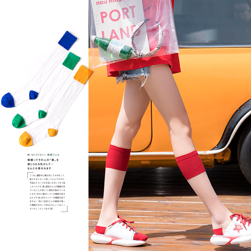 Women Long Socks 1 Pair 2019 Summer New Girl Women Fashion Color Long Thin Socks Woman Breathable Transparent Korean Style