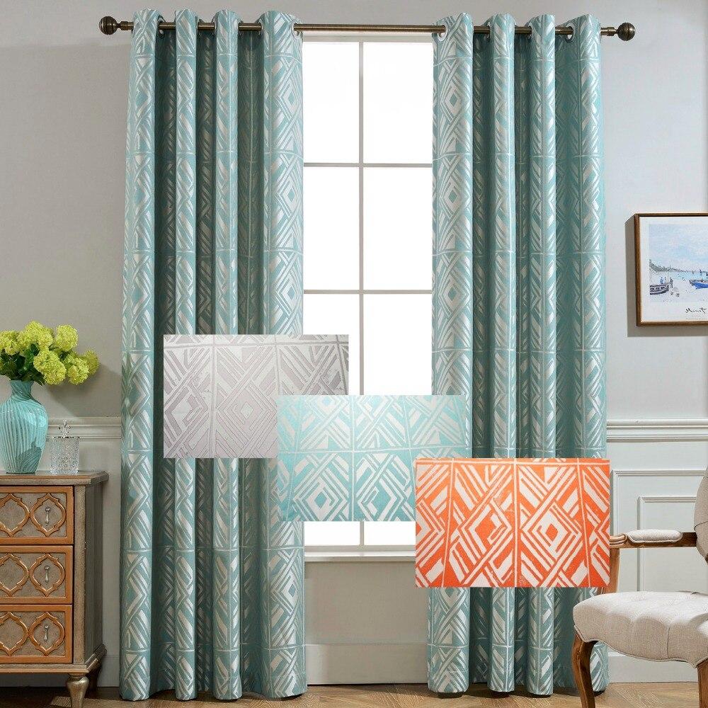 Blue geometric curtains - Gigizaza Japan Geometric Jacquard Black Out Beige Short Curtains For Living Room Blue Custom Curtains Pleat