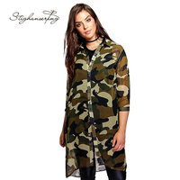 Plus Size Women Chiffon Camo Camouflage Shirt Dress 3/4 Sleeve Boyfriend Longline Shirt Big Size Dress 3XL 4XL 5XL 6XL