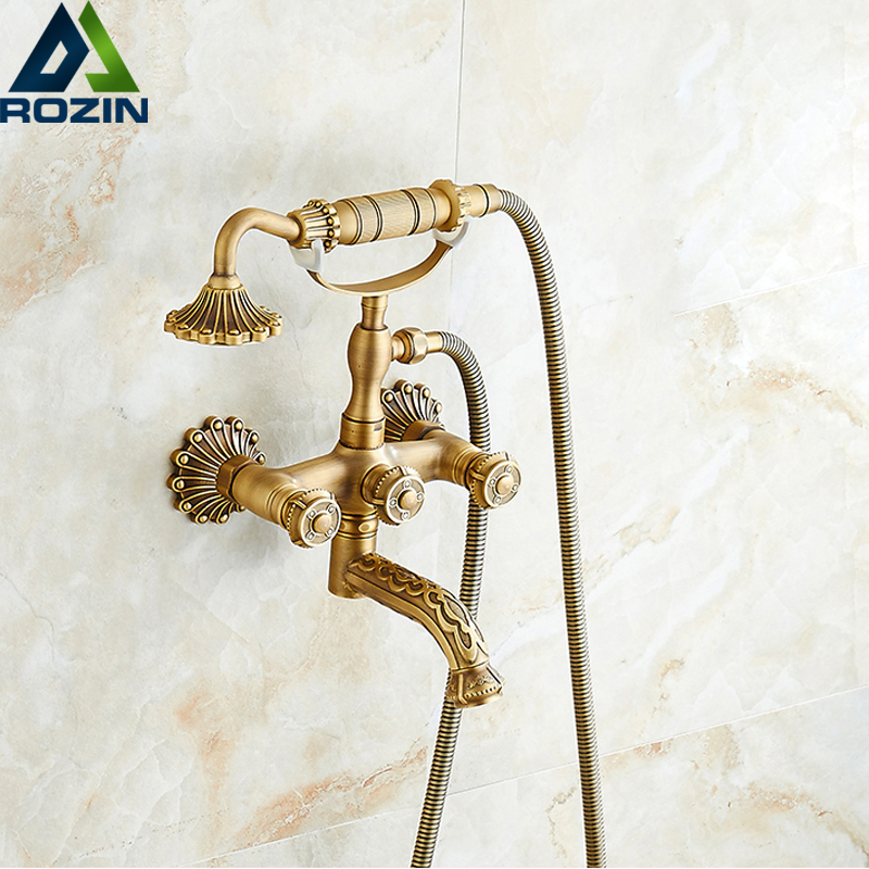European Style Artistic Carved Bathtub Mixer Faucet Dual Handle Bath Shower Set with Hand Shower Swivel Tub Spout artistic elephants print extra long shower curtain
