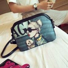 2016 new shell fashion cartoon printed fashion lady inside the mobile phone bag shoulder bag interval free shipping