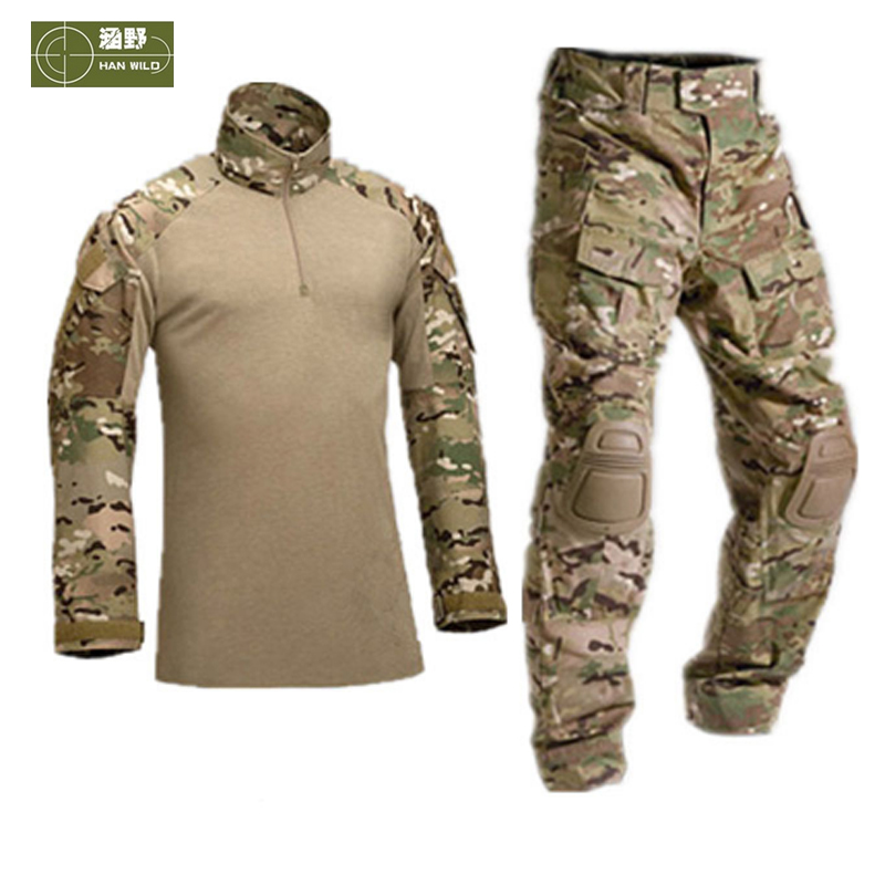 HANWILD Men Tactical Military Uniform Shirt Army Combat Hunting Pants With Knee Pads Camouflage Training Trekking Clothes S19 acu flecktarn real 2016 new men tactical military uniform clothing army combat pants with knee pads camouflage hunting clothes