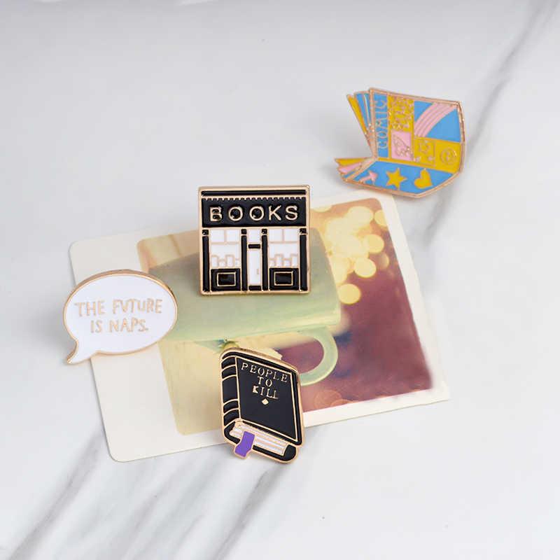 สีดำ book หนังสือเคลือบ pins ความรู้กระตุ้น Go study Denim Lapel ป้ายเข็มกลัดของขวัญสำหรับเพื่อนเครื่องประดับขายส่ง