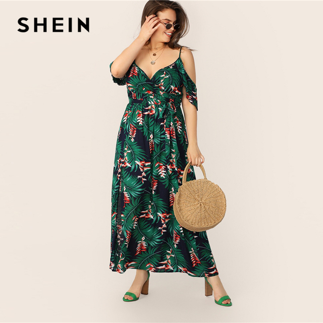SHEIN Plus Size Multicolor Cold Shoulder Tropical Print Belted Split Maxi Dress 2019 Women Summer Boho Spaghetti A Line Dresses 3