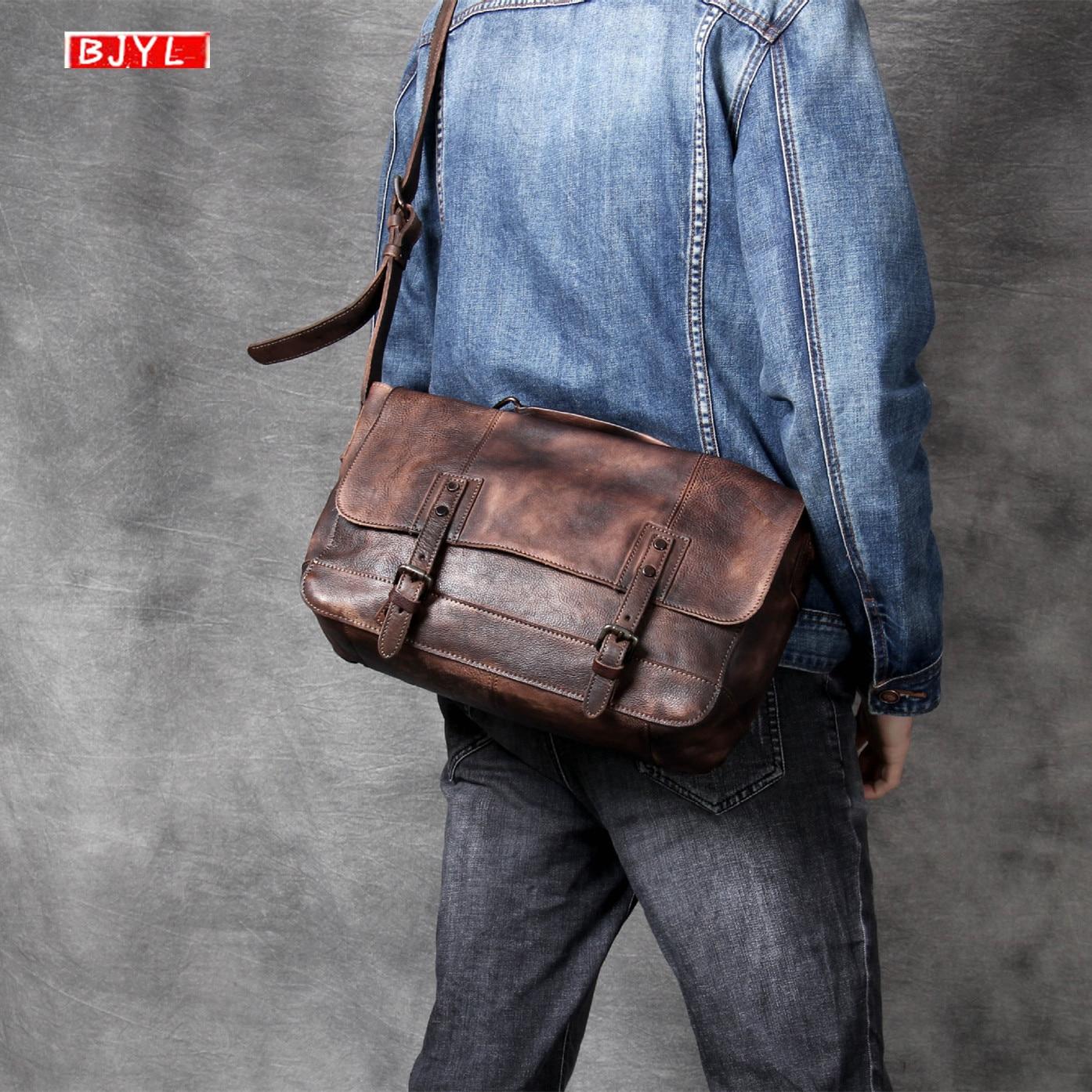 Vintage first layer leather Men's handbag vegetable tanned leather shoulder Messenger bag casual male original crossbody bags