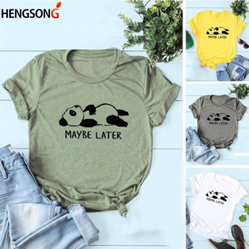 2019 Donne Di Estate T-shirt Casual Magliette E Camicette Magliette Allentato O-collo Kawaii Cute Panda Stampa T Shirt Donne Di Stile Cinese Maglietta Magliette