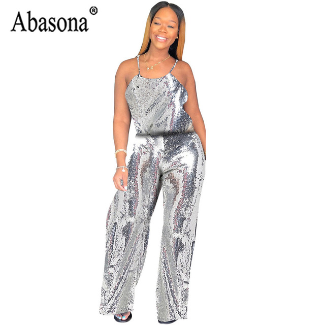 802f3d70bb Abasona Sexy Silver Sequin Strap Jumpsuit Women Long Loose Jumpsuit Backless  Sleeveless Playsuit Female Nightclub Outfits Romper